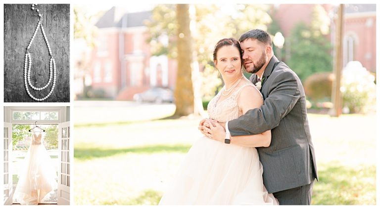 Painesville city wedding, bride and groom portrait, pearl necklace in black and white, brides dress