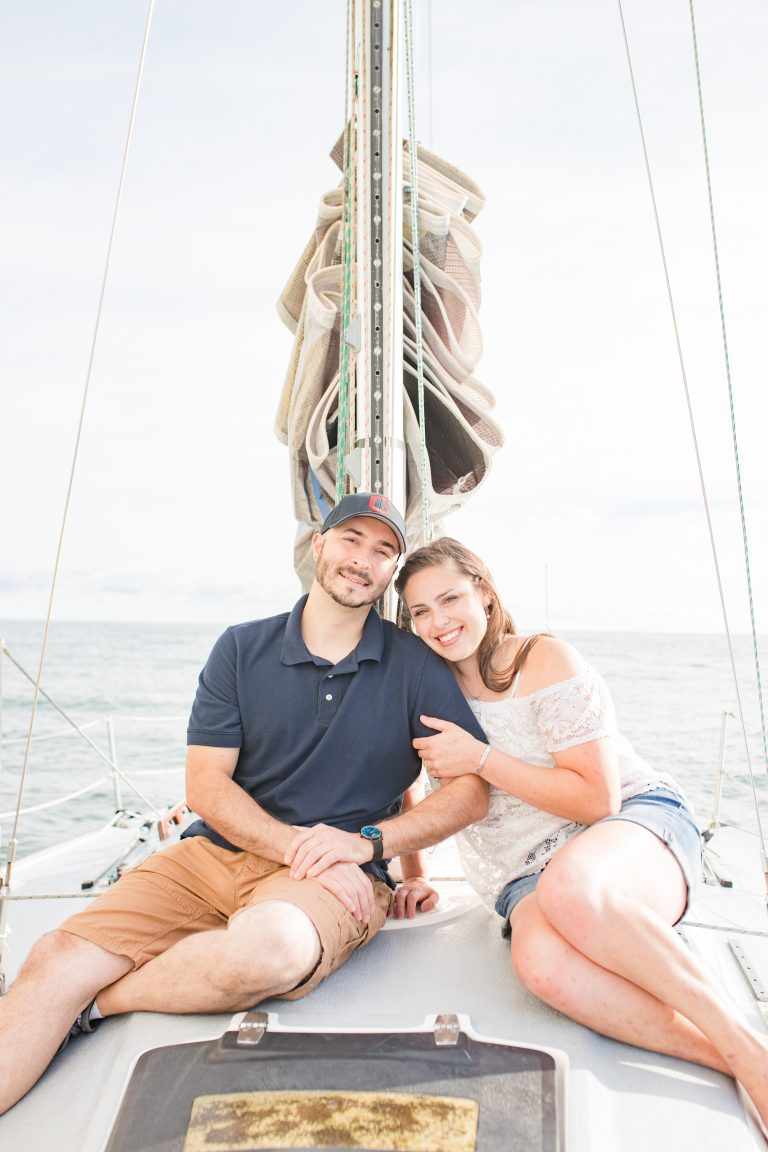 sailboat engagement photos Lake Erie